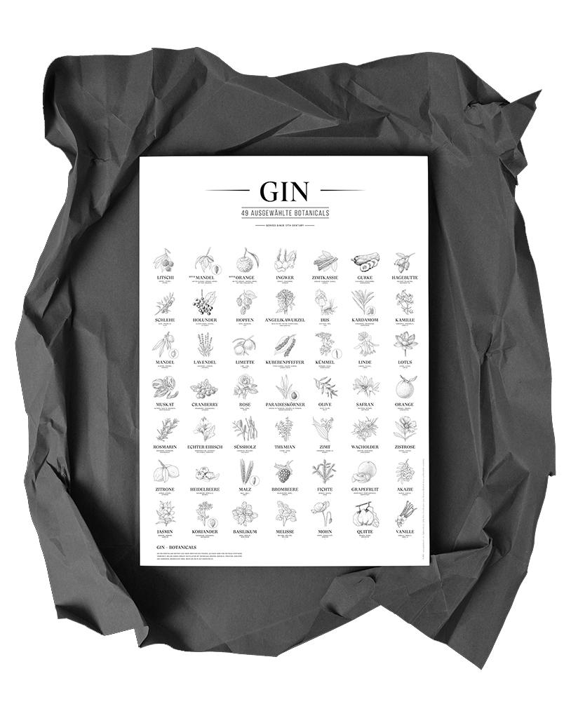 Gin Plakat, 49 ausgewählte Botanicals, Schwarz-Weiß, Format: A2