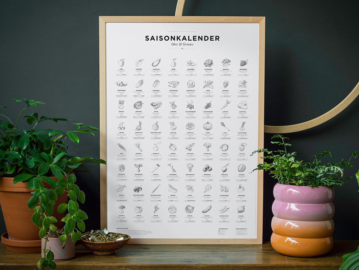 Saisonkalender für Obst & Gemüse schwarz-weiß
