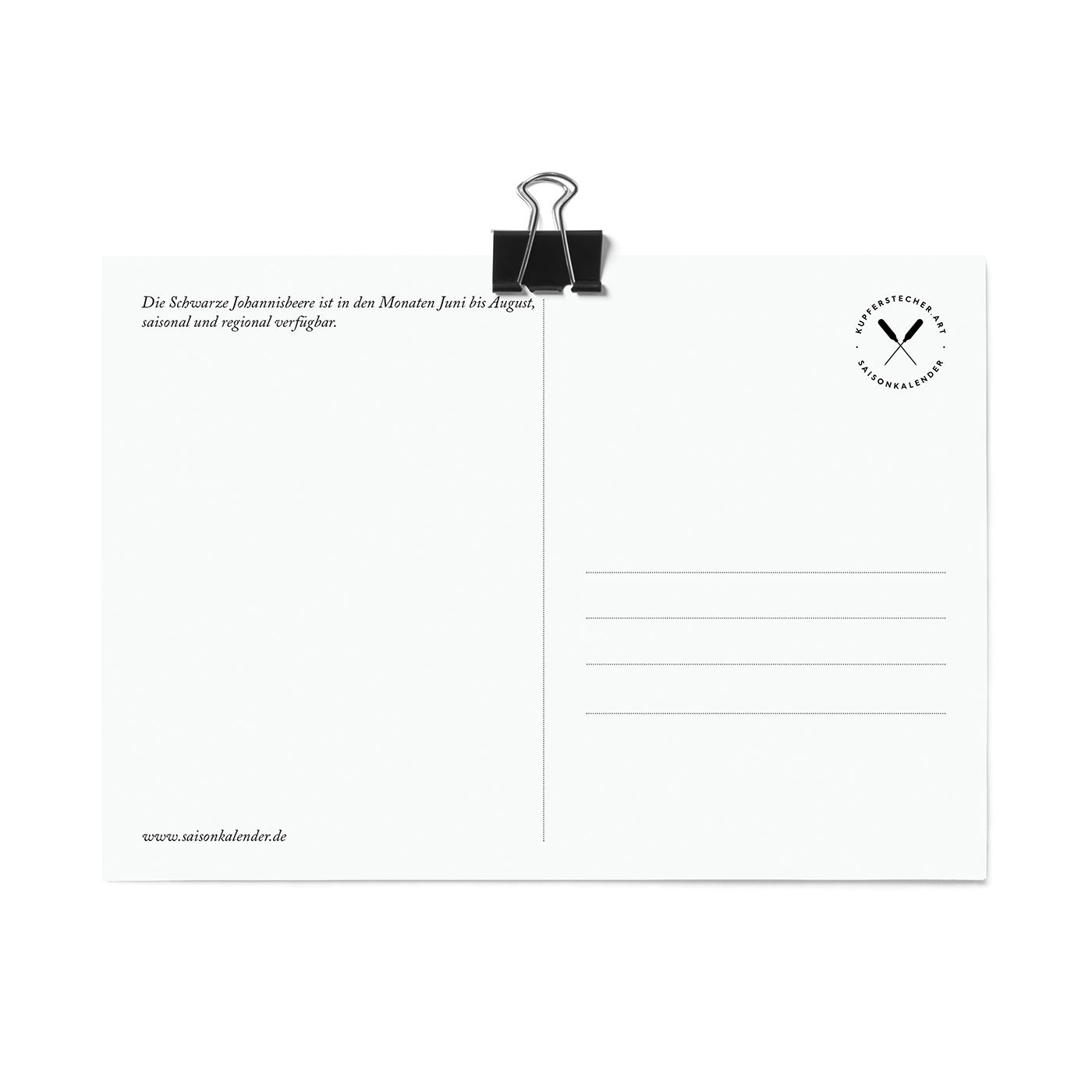 Postkarte, Schwarze Johannisbeere