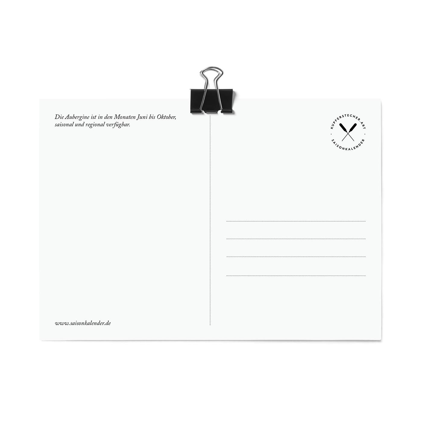 Postkarte, Aubergine
