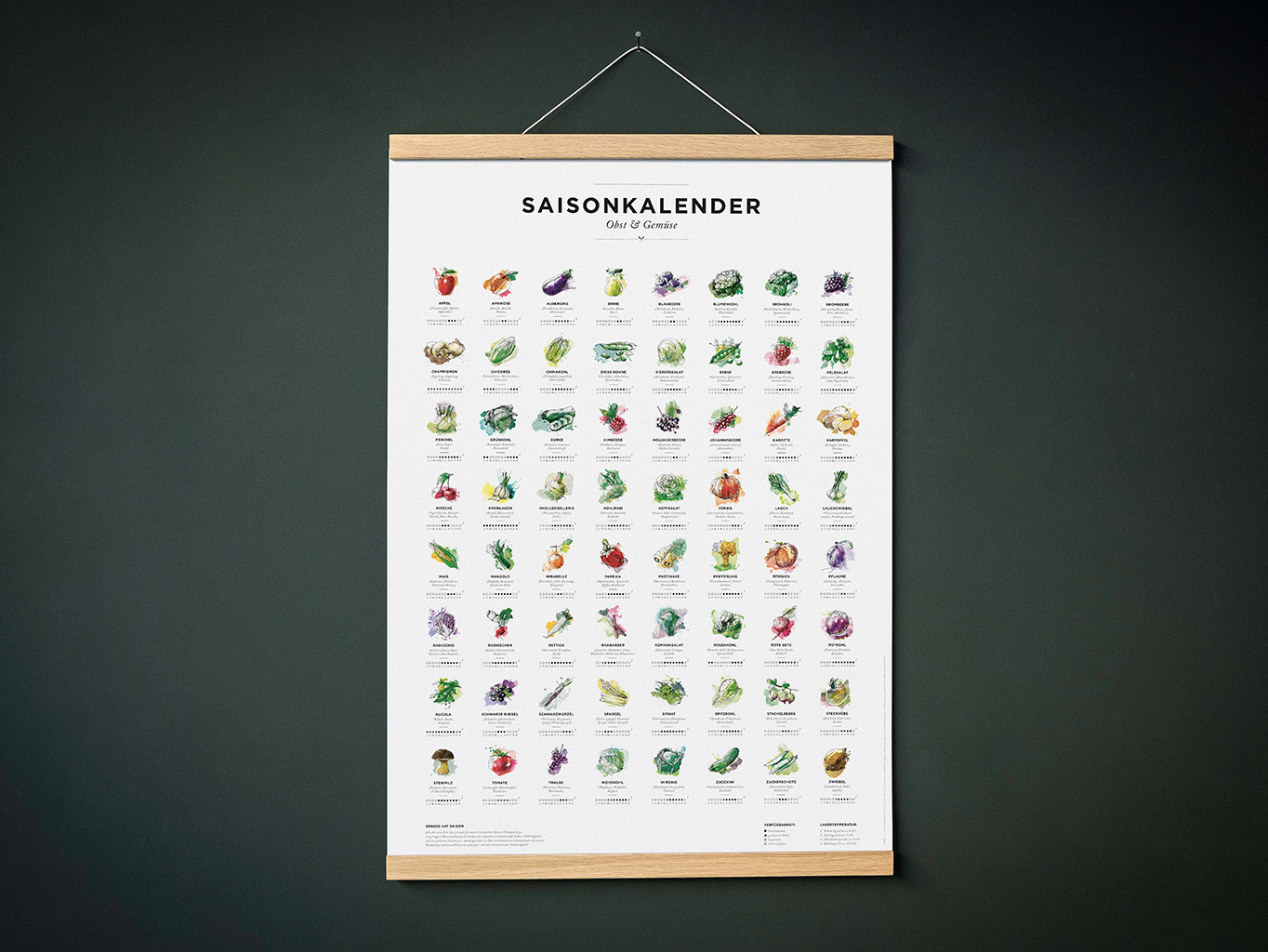 Saisonkalender für Obst & Gemüse in Farbe