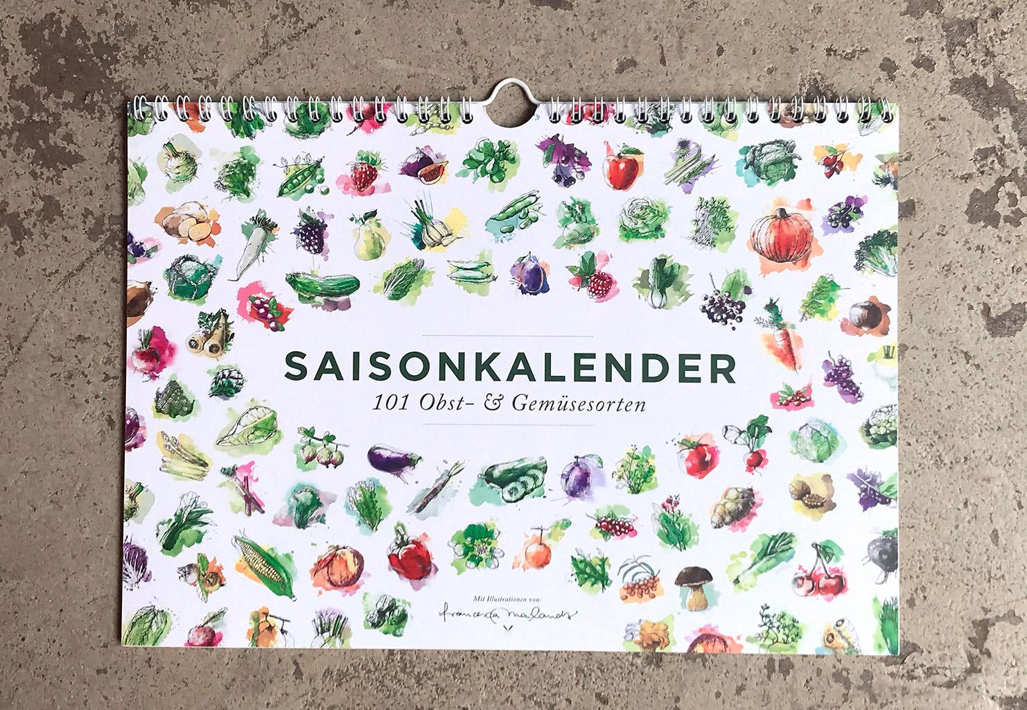 Ewiger Saisonkalender für 101 Obst & Gemüsesorten in Farbe